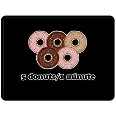 Five donuts in one minute  Double Sided Fleece Blanket (Large)