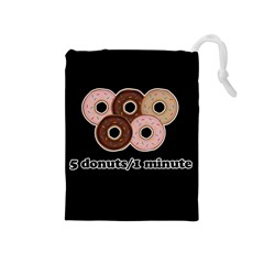 Five donuts in one minute  Drawstring Pouches (Medium)