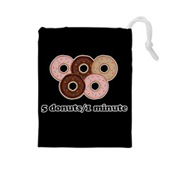 Five donuts in one minute  Drawstring Pouches (Large)