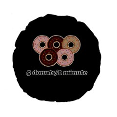 Five donuts in one minute  Standard 15  Premium Flano Round Cushions