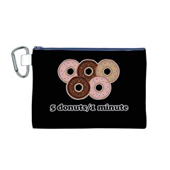 Five donuts in one minute  Canvas Cosmetic Bag (M)