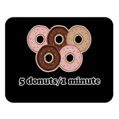 Five donuts in one minute  Double Sided Flano Blanket (Large)