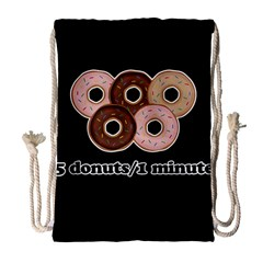Five donuts in one minute  Drawstring Bag (Large)