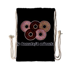Five donuts in one minute  Drawstring Bag (Small)