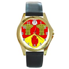 County Londonderry Coat of Arms  Round Gold Metal Watch