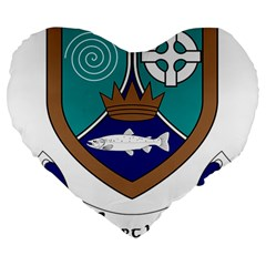County Meath Coat of Arms Large 19  Premium Flano Heart Shape Cushions