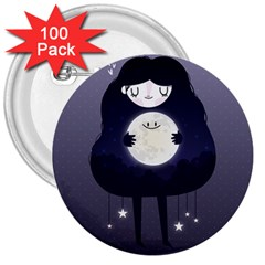 Moon 3  Buttons (100 pack)