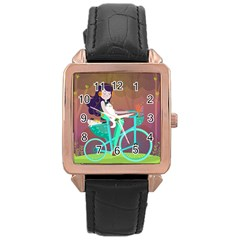 Bikeride Rose Gold Leather Watch