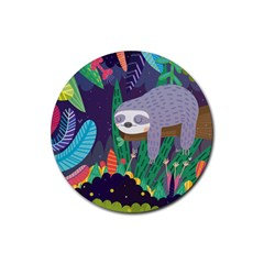 Sloth in nature Rubber Round Coaster (4 pack)