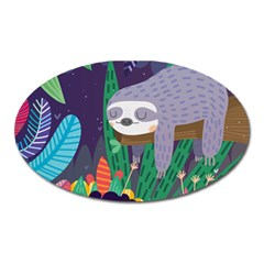 Sloth in nature Oval Magnet