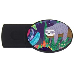 Sloth in nature USB Flash Drive Oval (1 GB)