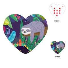 Sloth in nature Playing Cards (Heart)