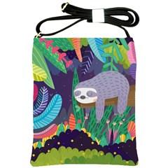 Sloth in nature Shoulder Sling Bags