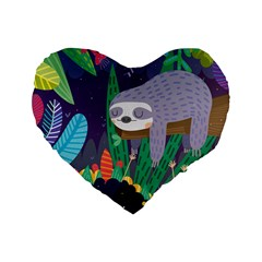 Sloth in nature Standard 16  Premium Flano Heart Shape Cushions