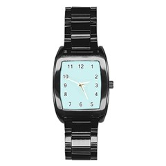 Pastel Color - Light Cyanish Gray Stainless Steel Barrel Watch