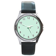 Pastel Color - Light Greenish Gray Round Metal Watch
