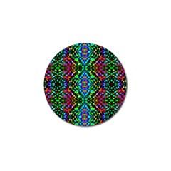 Glittering Kaleidoscope Mosaic Pattern Golf Ball Marker