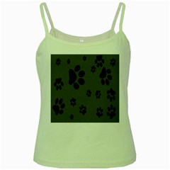Dog Foodprint Paw Prints Seamless Background And Pattern Green Spaghetti Tank