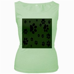 Dog Foodprint Paw Prints Seamless Background And Pattern Women s Green Tank Top