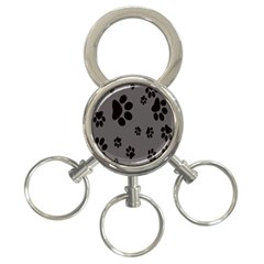 Dog Foodprint Paw Prints Seamless Background And Pattern 3-Ring Key Chains