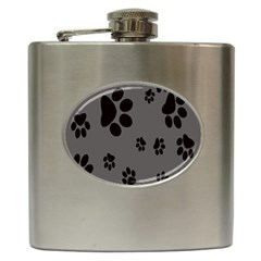 Dog Foodprint Paw Prints Seamless Background And Pattern Hip Flask (6 oz)