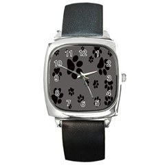 Dog Foodprint Paw Prints Seamless Background And Pattern Square Metal Watch