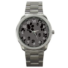 Dog Foodprint Paw Prints Seamless Background And Pattern Sport Metal Watch