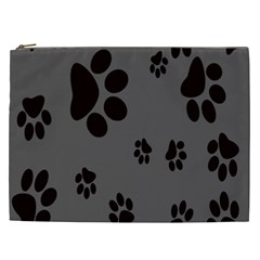 Dog Foodprint Paw Prints Seamless Background And Pattern Cosmetic Bag (XXL)