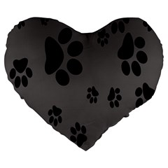 Dog Foodprint Paw Prints Seamless Background And Pattern Large 19  Premium Heart Shape Cushions