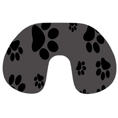 Dog Foodprint Paw Prints Seamless Background And Pattern Travel Neck Pillows