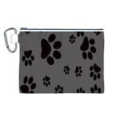 Dog Foodprint Paw Prints Seamless Background And Pattern Canvas Cosmetic Bag (L)
