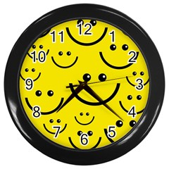 Digitally Created Yellow Happy Smile  Face Wallpaper Wall Clocks (Black)