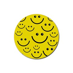 Digitally Created Yellow Happy Smile  Face Wallpaper Rubber Coaster (Round)