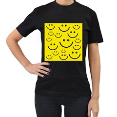 Digitally Created Yellow Happy Smile  Face Wallpaper Women s T-Shirt (Black) (Two Sided)