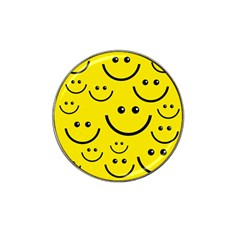 Digitally Created Yellow Happy Smile  Face Wallpaper Hat Clip Ball Marker (4 pack)