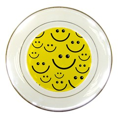 Digitally Created Yellow Happy Smile  Face Wallpaper Porcelain Plates