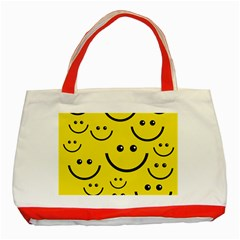 Digitally Created Yellow Happy Smile  Face Wallpaper Classic Tote Bag (Red)