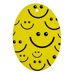 Digitally Created Yellow Happy Smile  Face Wallpaper Oval Ornament (Two Sides)