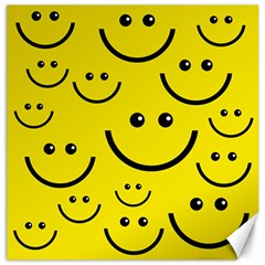 Digitally Created Yellow Happy Smile  Face Wallpaper Canvas 12  x 12