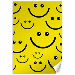 Digitally Created Yellow Happy Smile  Face Wallpaper Canvas 12  x 18