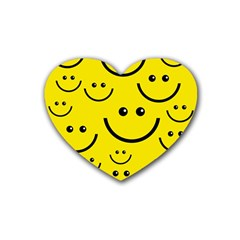 Digitally Created Yellow Happy Smile  Face Wallpaper Heart Coaster (4 pack)