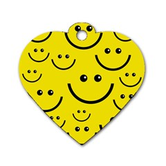 Digitally Created Yellow Happy Smile  Face Wallpaper Dog Tag Heart (One Side)