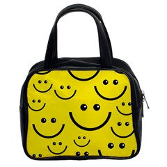 Digitally Created Yellow Happy Smile  Face Wallpaper Classic Handbags (2 Sides)