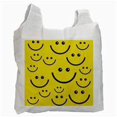 Digitally Created Yellow Happy Smile  Face Wallpaper Recycle Bag (Two Side)