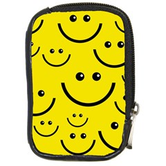 Digitally Created Yellow Happy Smile  Face Wallpaper Compact Camera Cases