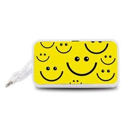 Digitally Created Yellow Happy Smile  Face Wallpaper Portable Speaker (White)