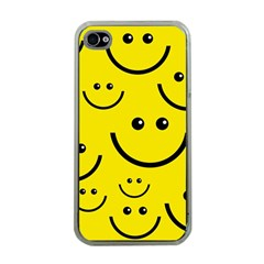 Digitally Created Yellow Happy Smile  Face Wallpaper Apple iPhone 4 Case (Clear)