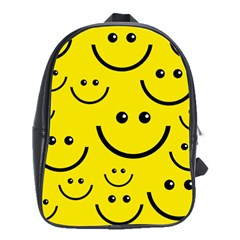 Digitally Created Yellow Happy Smile  Face Wallpaper School Bags (XL)
