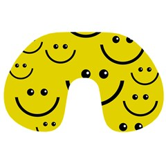 Digitally Created Yellow Happy Smile  Face Wallpaper Travel Neck Pillows