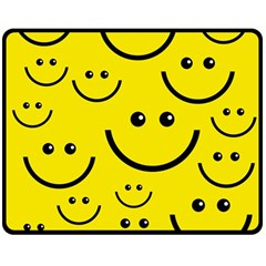 Digitally Created Yellow Happy Smile  Face Wallpaper Double Sided Fleece Blanket (Medium)